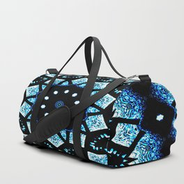 Blue Black Mosaic Kaleidoscope Mandala Duffle Bag