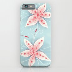 Beautiful Abstract Flowers In Red And White Slim Case iPhone 6s