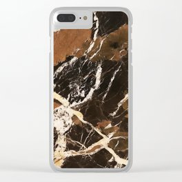 Sienna Brown and Black Marble With Creamy Veins Clear iPhone Case
