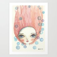 girl and bubbles Art Print