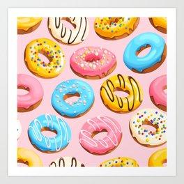 Donuts Pink Modern Decor Contemporary Modern Décor Art Print