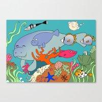 manatee Canvas Prints featuring Manatee by reefscenesbygina