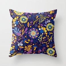 Ripe autumn – purple and yellow Throw Pillow