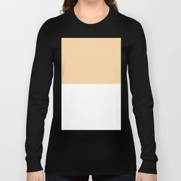 White and Sunset Orange Horizontal Halves Long Sleeve T-shirt