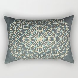 Sea Shimmer Mandala - Gold + Turquoise Rectangular Pillow