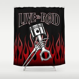 Live to Rod! Skeletons and Pistons Shower Curtain