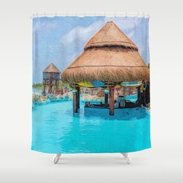 Swim up bar at Costa Maya | Painting Shower Curtain