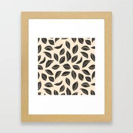 Falling Leaves in black and ivory Framed Art Print