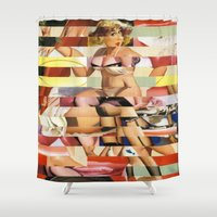 ursula Shower Curtains featuring Glitch Pin-Up Redux: Ursula by Wayne Edson Bryan