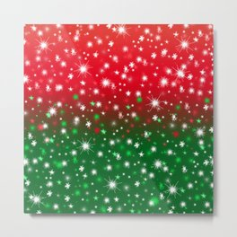 Christmas Variegated Red and Green Star Glow Metal Print