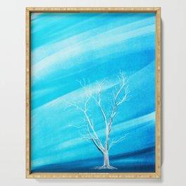 Big white leafless tree blue background Serving Tray
