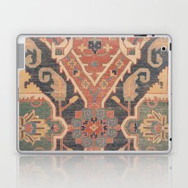Geometric Leaves IV // 18th Century Distressed Red Blue Green Colorful Ornate Accent Rug Pattern Laptop & iPad Skin