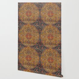 Persian Medallion Rug VI // 16th Century Distressed Red Green Blue Flowery Colorful Ornate Pattern Wallpaper