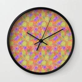 Garden Charm III:  Happy Flowers in Coral, Pink and Yellow with Purple and Grey Wall Clock