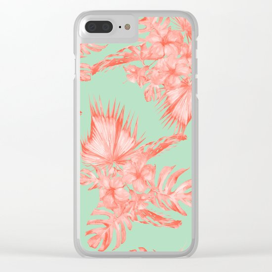 Dreaming of Hawaii Coral Pink + Pastel Green Clear iPhone Case
