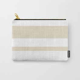 Mixed Horizontal Stripes - White and Pearl Brown Carry-All Pouch