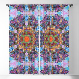 Mandala with colorful collage Blackout Curtain
