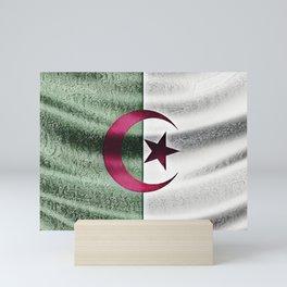 Algeria Flag Moon Star Fabric Chapped Scratchy Interesting Mini Art Print
