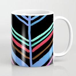 Handpainted Classic Chevron Pattern Black Blue Red Aqua Purple Brown Coffee Mug
