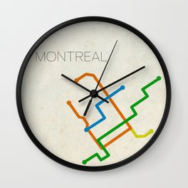 Minimal Montreal Subway Map Wall Clock
