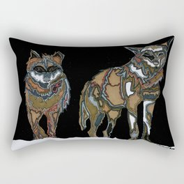 Two wolves in the snow Rectangular Pillow