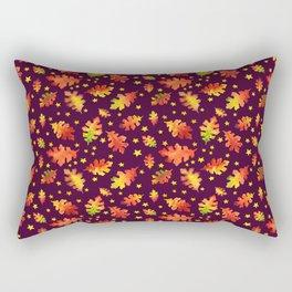 Autumn Oak Leaves Watercolor Pattern Rectangular Pillow