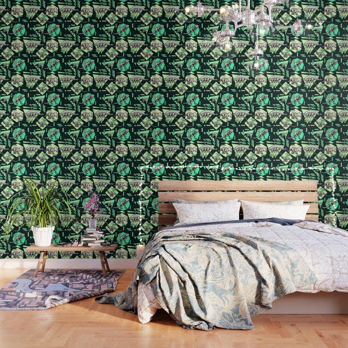 90's Dinosaur Skeleton Neon Pattern Wallpaper