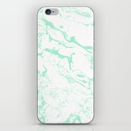 Trendy modern pastel mint green white marble pattern by Girly Trend iPhone Skin