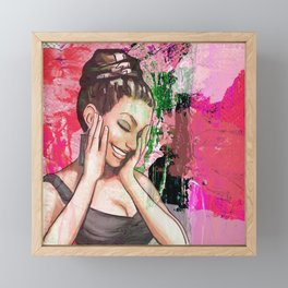 Retro Pinup Girl Laughing & Colorful Abstract Paint Framed Mini Art Print