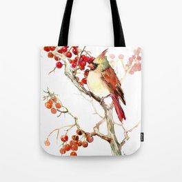 Cardinal Bird and Berries Tote Bag