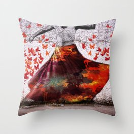Flying Skirt Throw Pillow