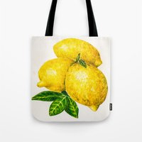 lemon Tote Bags featuring Lemon by Peiting Tsai
