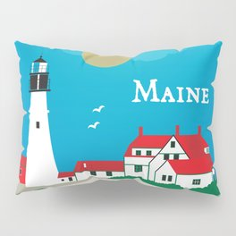 Maine - Skyline Illustration by Loose Petals Pillow Sham