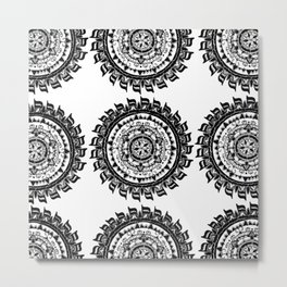 Black and White Chocolate Inspired Mandala Textile Metal Print