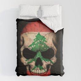 Dark Skull with Flag of Lebanon Comforters