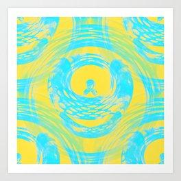 Abstract Aqua and Yellow Art Print