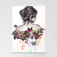 woman Stationery Cards featuring Butterfly Effect by KatePowellArt