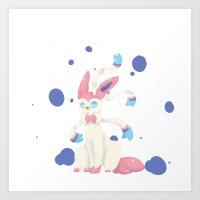 sylveon Art Prints featuring sylveon! by f5ver