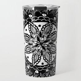 Black and White Chaotic Mandala Pattern Travel Mug