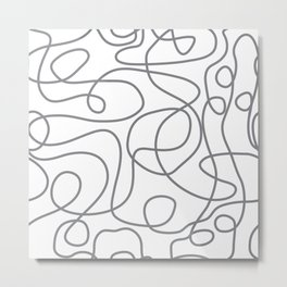 Doodle Line Art | Gray Lines on White Metal Print