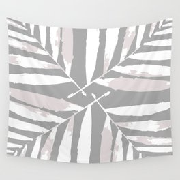Geometric, white, light grey, silver,  tropical, autumn, fall, pattern, Palm, leaves, society6 Wall Tapestry
