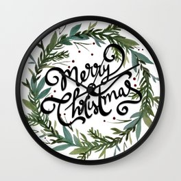 Merry Christmas Wreath Wall Clock