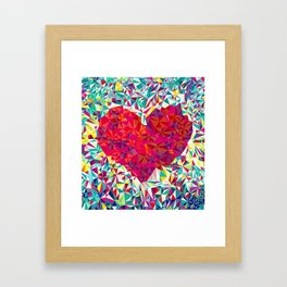 Low Poly Patch Heart Framed Art Print