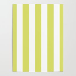 Bored accent green -  solid color - white vertical lines pattern Poster