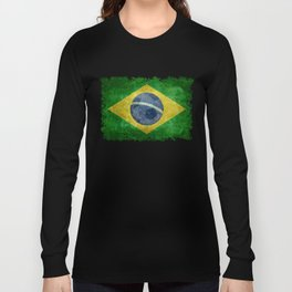 Flag of Brazil with football (soccer ball) retro style Long Sleeve T-shirt