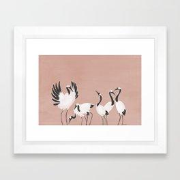 Crane Dance - Mauve Pink Framed Art Print