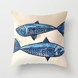 Blue fishes- Poissons bleus Throw Pillow