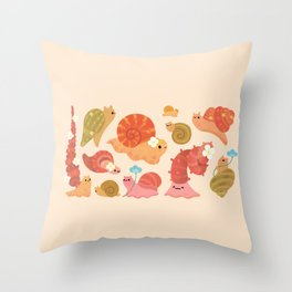 Snail and small flowers Throw Pillow