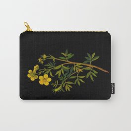 Potentilla Fruticosa Mary Delany Floral Flower Paper Collage Delicate Vintage Black Background Carry-All Pouch