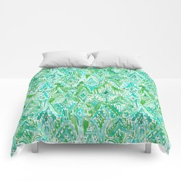 DROPS OF WONDER Green Ikat Tribal Comforters